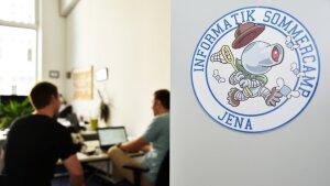 Ein Blick in ein Büro mit dem Sommercamp Logo